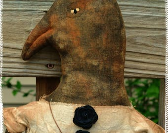 Extreme Primitive Folk Art Vintage Style Country Cloth Crow Doll