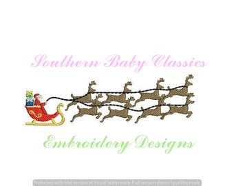 Santa Reindeer Sleigh Fill Design File for Embroidery Machine Instant Download Christmas