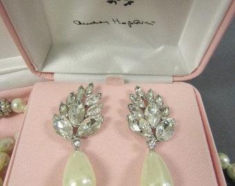 Audrey Hepburn Crystal and Pearl Drop Earrings - Pierced