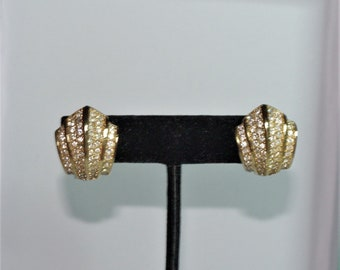 Christian Dior Pierced Earrings - Gold Tone with Crystals - S2431