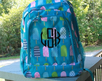 Monogrammed Popsicle Backpack Girls Turquoise Bookbag