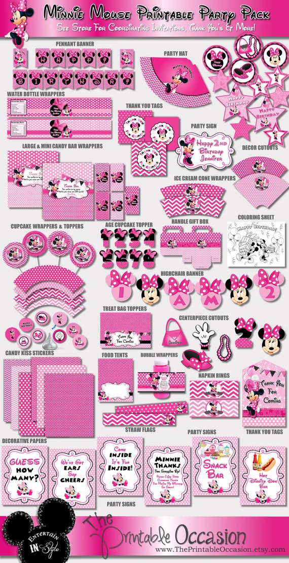 Pink Minnie Mouse Party Decorations Chevron And Polka Dot