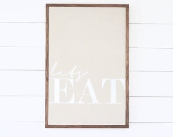 """Lets EAT Painted Wood Sign - 20x30"""" 