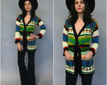 1970s multicolored patterned cardigan