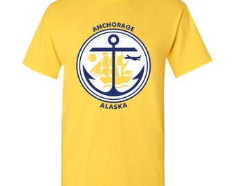 Anchorage City Flag T Shirt - Yellow