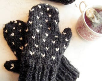 Wool Mittens Women Knit Mittens Wool Knit Mittens Womens Mittens Fair Isle Mittens Chunky Knit Mittens / THE AVA