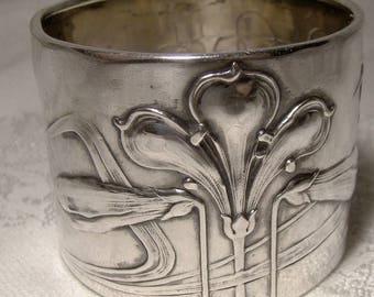 800 Silver Art Nouveau Floral German Napkin Ring 1900