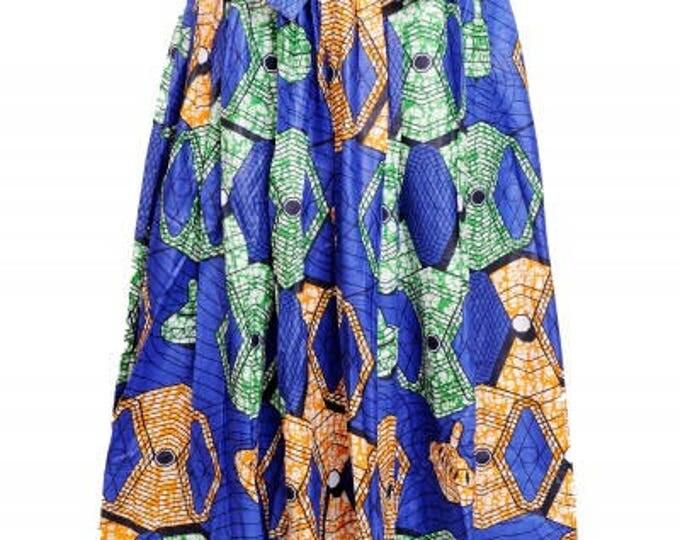 Ankara Traditional Wax Print Adjustable Strap Maxi West African Skirt