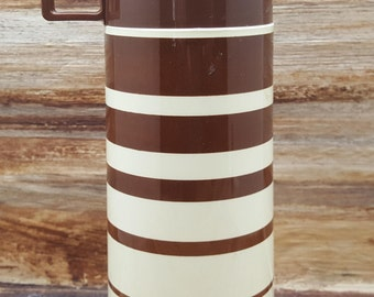 Vintage Retro Thermos, Brown stripes, 1970s