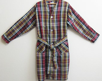 Plaid Cotton Cover-up Robe Large - Mad Men Poolside