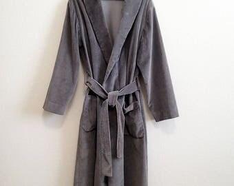 Gray Corduroy Robe Large XL EPIC 100% Cotton