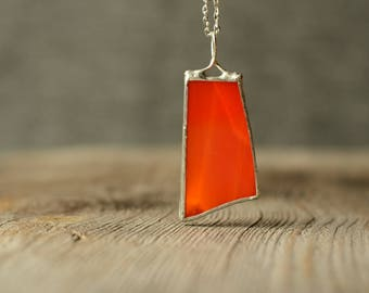 red glass necklace, original soldered jewelry, festival necklace, gift for her, gift for wife