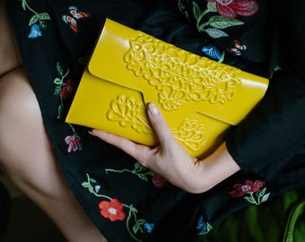 Clutch bag / bright yellow clutch / stunning evening handbag / envelope clutch bag / standout design / stylish yet ethical / MeDusa bags