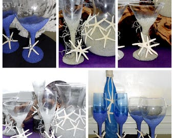 Mr. & Mrs. Coastal Wedding Couples Champagne Toasting Flutes Martini Wine Glasses - Handcrafted and Custom