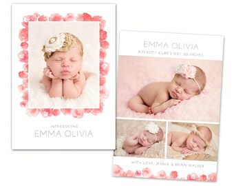Birth Announcement Template - Watercolor Baby Announcement Template for Photographers - Newborn 5x7 card - CB124  - INSTANT DOWNLOAD