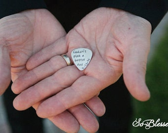 Father of the Bride guitar pick, from Bride to Dad, custom guitar pick, Unique Father of the Bride gift ideas, Couldnt pick a better dad