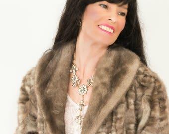 Silver Blue Vintage Mink Fur Coat Full Length Coat Jacket Size XL