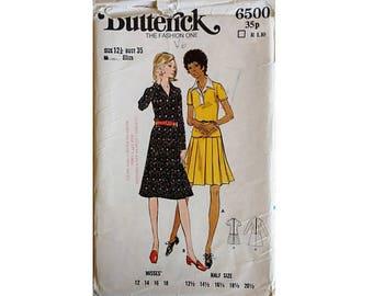 Vintage 70's Butterick #6500 Drop Waisted Dress 2 Options Plain or Pleated Skirt Sizes Medium UK 12-14