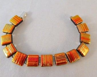 8 Inch Orange Dichroic Fused Glass Bracelet, Fused Glass, Dichroic, Glass Bracelet, Dichroic Bracelet, Fused Glass Bracelet, Orange