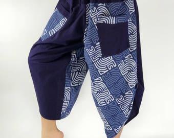 HC0022 Women's Thai Button Up Cotton Pants in rainbow