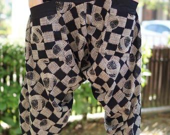 HC0535 Samurai Pants, Samurai Pants (Unisex) Elastic Waist ,Wrap pants