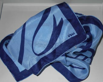 VERA rare 1950s scarf blues ribbon design pure silk Patent Pending Free USA shipping