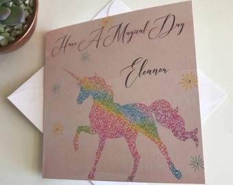 Personalised Unicorn Card Sister, Birthday Card, 5th, 6th, 8th, 10th, 18th, 21st, 30th, 40th, 50th Rainbow Unicorn, Daughter, Friend, Niece