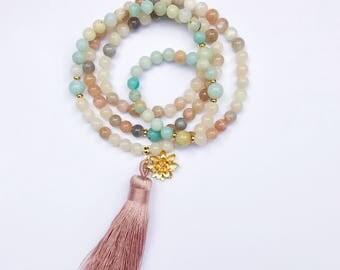 Moonstone Mala, Moonstone Mala Necklace, Amazonite Mala Beads, Mala Necklace, Prayer Beads, Healing Necklace, Mala Beads, Tassel Mala, MNMO