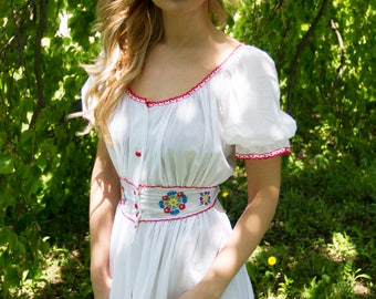 1970's Vintage Peasant Dress Tissue Thin w/ Embroidered Flowers Lovely Boho Hippie Summer Dress