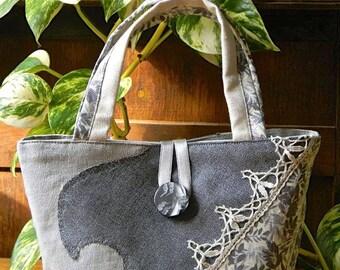 Beige/grey/beige lace basket bag 026