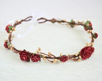 Red and Gold Flower Crown, bridal flower crown, winter wedding, rose, woodland wedding, flowergirl garland, floral crown, bridesmaid - Alice