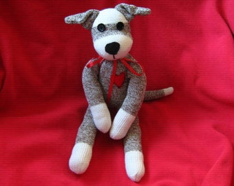 Sock Monkey Puppy Dog Fido the Faithful Plush Stuffed Animal Toy Doll - Rockford Red Heel Socks