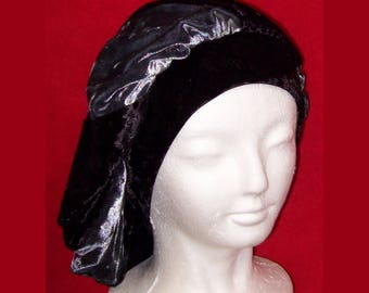 Beret Two Toned Pinwheel Black and Gray Stretch Crushed Velvet Slouchy Full Head Cap  - Slip On Cap Hat Turban Costume Party Medieval