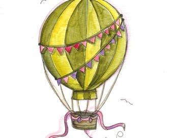 Green Balloon (original watercolor)
