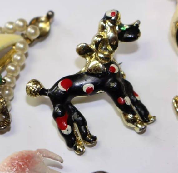 Funny Little Polka Dot Antique Poodle Dog Pin