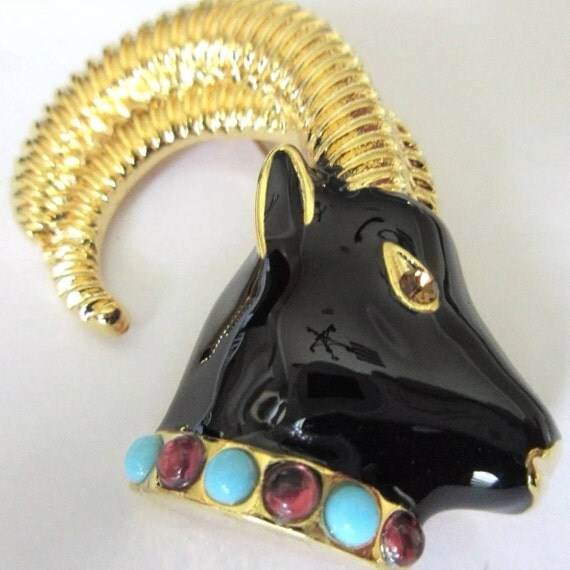 Vintage Designer UnSigned Moghul Enamel On Goldtone  RAM with Cabochons Ritzy Statement Bling Brooch Pin