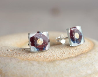 Unique earrings, Plum earrings, Small earrings, Fused Glass Earrings, Handcrafted earrings, Gift for women, Ready to ship