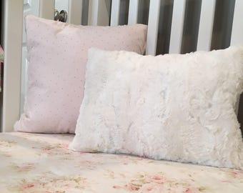 Decorative Nursey Pillows/ Baby Girl Nursery Pillows/ Pink and Gold Pillows/ Polka Dot Pillow