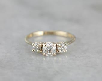 Classic Three Diamond Gold Engagement Ring, Past Present Future N98DZP-P