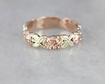 Vintage Floral Band, Two Tone Wedding Band, Stacking Band QLH2DM-N