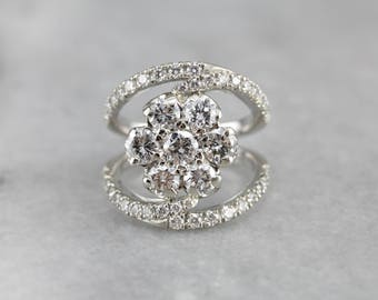 Diamond Cluster White Gold Statement Ring, Right Hand Ring AAYNCETF-N
