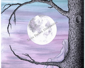 Moongazing - illustrated art print, seemingly by magic, watercolour moon art