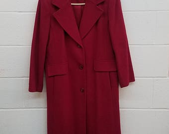 Forecaster of Boston Wool Peacoat | Size 9/10 | 100% Wool High Fashion Coat | Women's Pea Coat | Red Wool Coat | Long Wool Coat