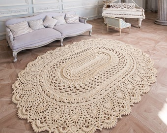 """Big crochet rug, oval area rug (100 х 75  in), doily rug, yarn lace mat, cottage nursery carpet, rustic floor decor """"LaceMayMiracle"""""""