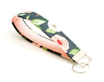 Floral Key Fob - Charcoal and Coral - 5 Inch Key Ring - Key Chain - Cute Wristlet Loop - Short Lanyard Strap - Keychain - Housewarming Gift