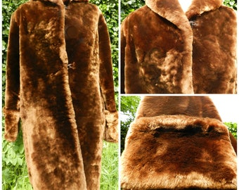 RESERVED 40s 50s SOFTEST golden brown three quarter length Beaver Lambs fur swing coat Oversized flared sleeves / cuffs M