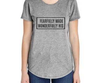 Women's Christian Shirt, grey graphic tee shirt, fearfully and wonderfully