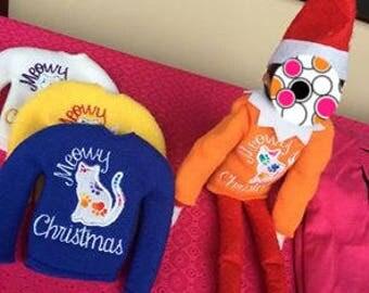 Meowy Christmas Elf Shirt - Doll Accessory - Holiday Kitty Elf Shirt - Elf Accessory - Christmas Decor - Holiday Elf Prop - Shelf Doll Props