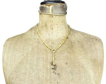 Brushed Gold Chain Lariat Necklace, Brushed Gold Chain Necklace, Gold Lariat Necklace, Chunky Gold Necklace