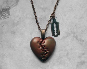 This Love stapled heart & razor blade horror necklace /  Copper coloured clay loveheart + chain / Macabre Horror Punk Gothic jewellery gift